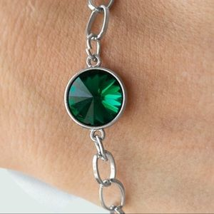 All Aglitter Green Gem Bracelet